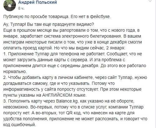 """Бишкекчане уже жалуются на проездные платежные карты """"Тулпар"""""""